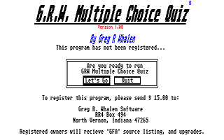 G.R.W. Multiple Choice Quiz